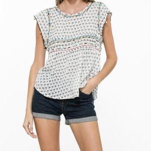 NWT Boho Embroidered Print Top Shirt